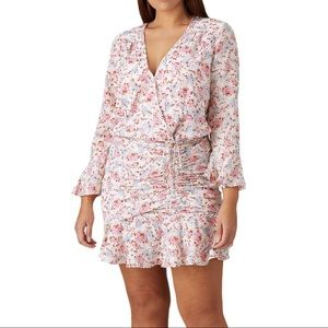 veronica beard sean floral long sleeve mini dress